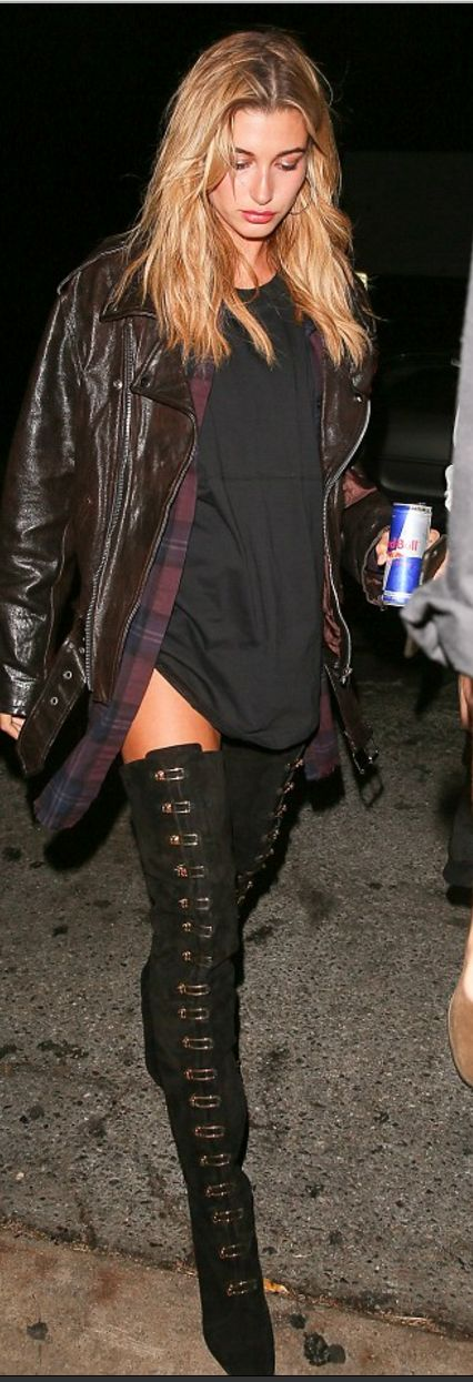 Who made Hailey Baldwin's leather jacket, plaid shirt, and thigh high boots?