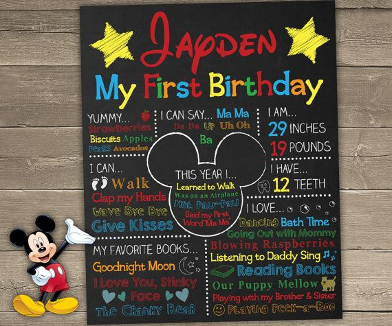 Mickey Mouse First Birthday Chalkboard Mickey by ChalkyPrints