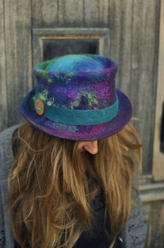 Felt trilby - Magic Hat 'Peacock' - purple blue green - Hand felted hand-dyed wool & curls - Handmade Fiber ARtWeAR - Custom Made to Measure