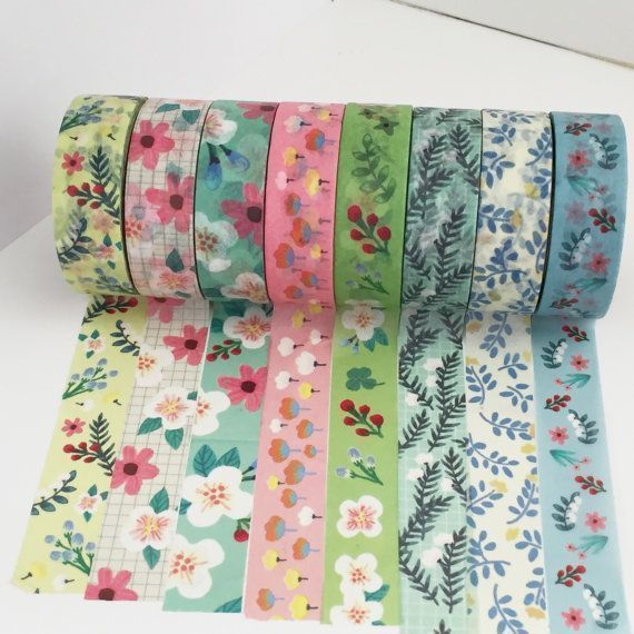 Floral Washi Tape Set 8 Roll Set Flower by TheSupplyHaven