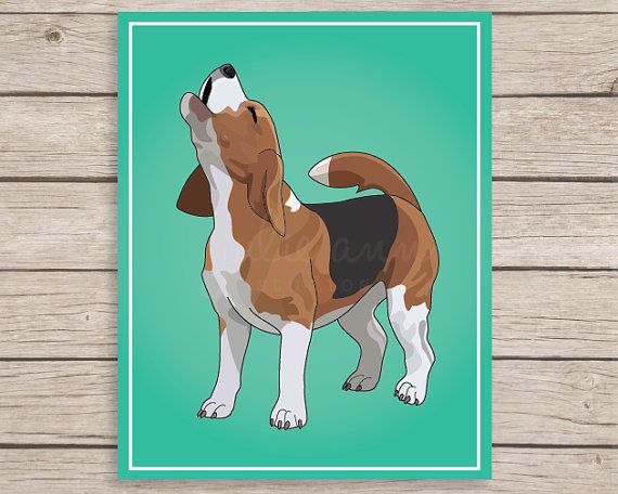 Beagle Art Print- Howling Beagle Art  Image is digitally created and printed on gorgeous archival art paper. Available in 5x7, 8x10, and 11x14in.