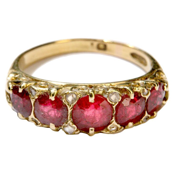 RP: Victorian 5-Stone Ruby Gold Ring - 1stdibs.com