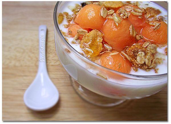 Iogurte com bolinhas de mamão, granola e mel = café da manhã feliz! Já falei do iogurte caseiro umas duas vezes aqui no blog, mas como a receita é muito simples, sempre vale à pena repetir. Basta a…