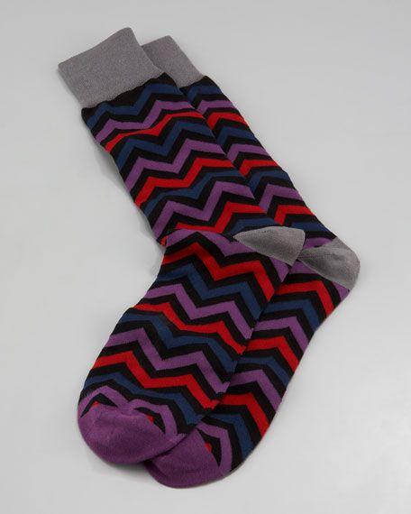 Arthur George by Robert Kardashian - Chevron Men's Socks, Gray