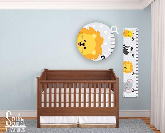 Kids Growth Chart - Boys Room Wall Decor - Jungle Custom Wall Hanging - Zoo Children's Growth Chart - Baby Jungle Animals Bedroom