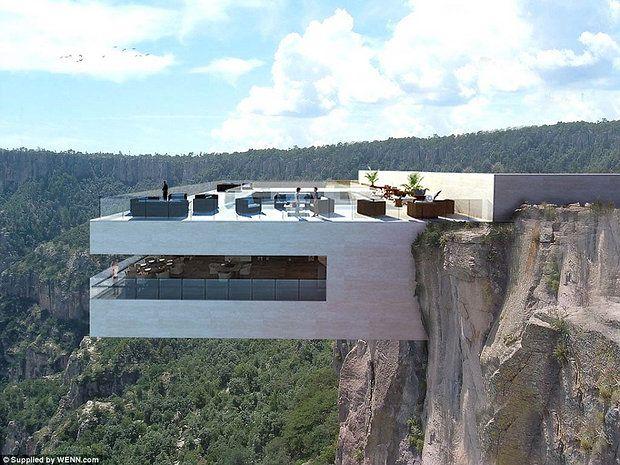 Als het aan de architect ligt drink jij over een tijdje een heerlijke cocktail in een Mexicaanse bar hangend boven een ravijn in de Copper Canyon