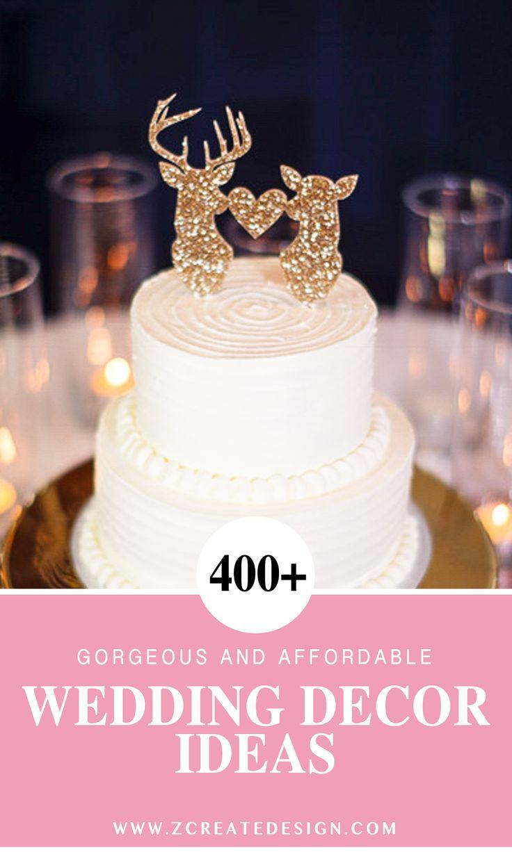 Deer Wedding Cake Topper In Gold Glitter