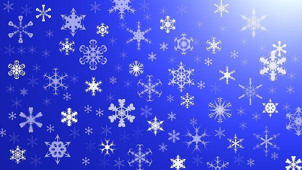 Графика, Синий, Фон, Лепестки, Снег