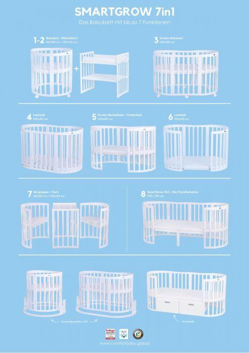 Babybett Smartgrow 7in1 Weiss Inklusive Bettset Baby Cot Baby Cribs Baby Bed