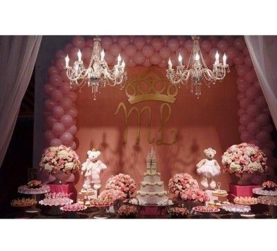 Princess Pink and White Dessert Table <3 See More Cute Dessert Table Ideas at www.CarlasCakesOnline.com