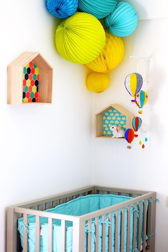CHAMBRE ENFANT KIDROOM HOTHAIRBALLOON MOBILE MONTGOLFIERE DIY CABANE EN BOIS