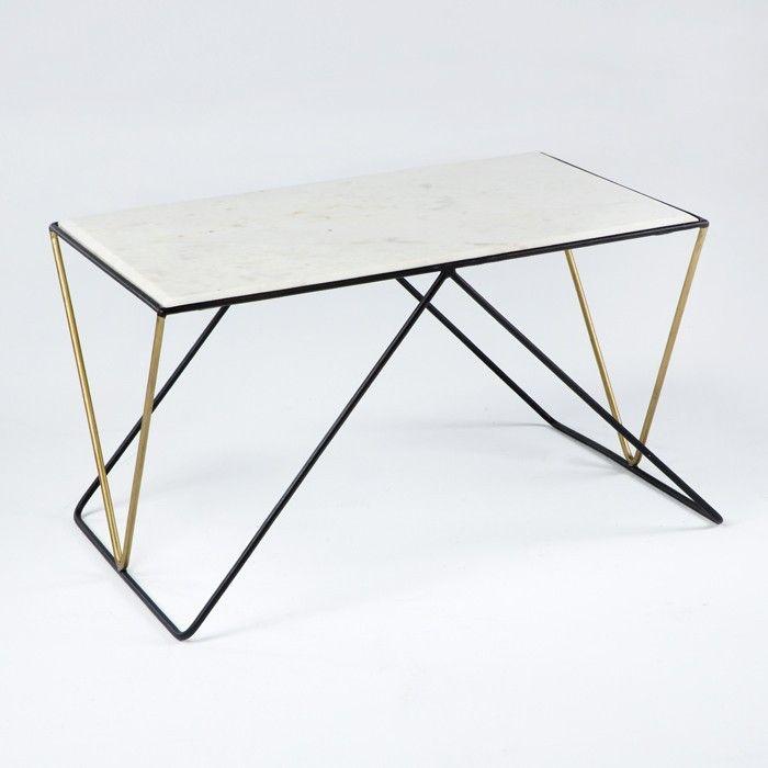 Thai Mobilier Table Basse Rectangulaire Marbre Blanc Et Metal Noir Et Dore Karl Lestendances Fr En 2020 Table Basse Rectangulaire Table Basse Marbre Blanc