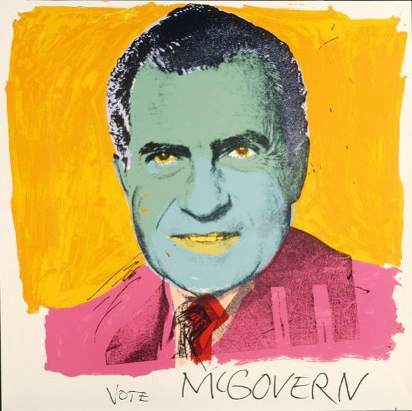 Warhol's iconic image from the 1972 US presidential campaign: Vote McGovern. Source: Tyler Collection, NGA. Via: @PrintBoffin