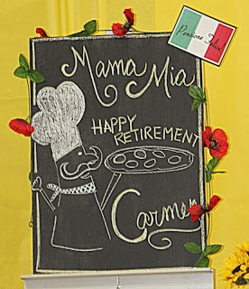 Delightful Events by Mariela Jane: An Italian themed RETIREMENT PARTY. manicotti shell pasta wrapped around napkins!