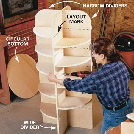 Make your own lazy susan... can use as pantry, toy storage, shoe storage, garage storage (for pantry, I could set it in a cabinet)