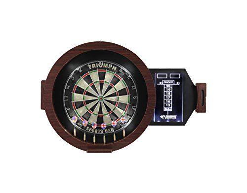 Darts  Triumph Sports Omega LED Bristle Dartboard In Round Wood Cabinet