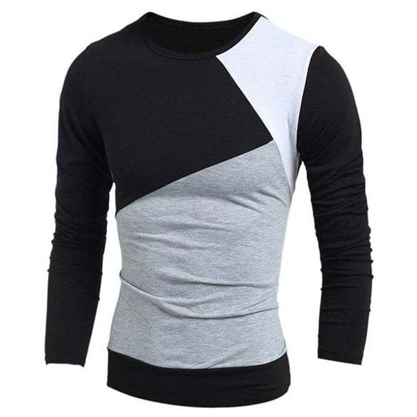 Multicolor Panel Round Neck Long Sleeves T Shirt ($13) ❤ liked on Polyvore featuring men's fashion, men's clothing, men's shirts, men's t-shirts, mens longsleeve shirts, colorful mens dress shirts, mens panel shirts, mens multi coloured shirts and mens extra long sleeve shirts