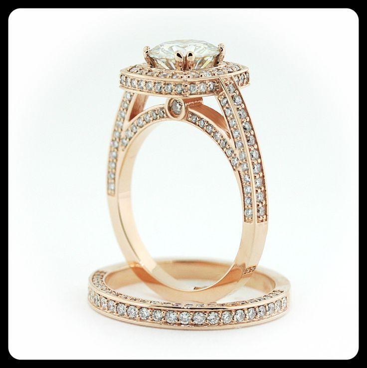 awesome Bague - Tendance 2017/2018  : 2 Ct. Rose Gold Wedding Set Round Moissanite Center Diamond Setting Engagement R...