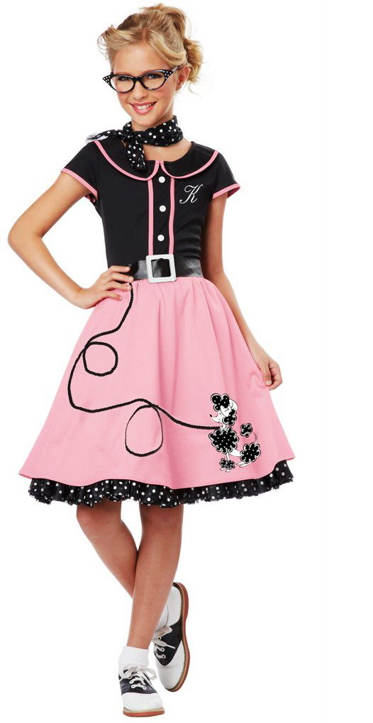 Girls 50s Style Cute Poodle Skirt Grease Costume Halloween Outfit