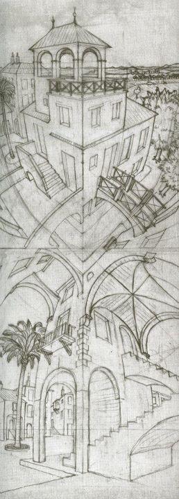 """construcciones. Estudios para """"Arriba y abajo"""" M. C. Escher"""