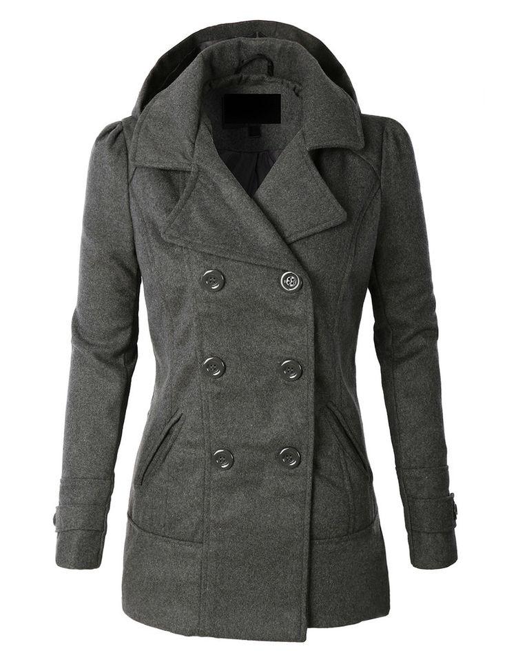 Wool pea coat for women
