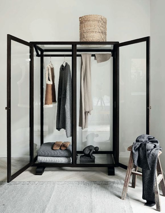 glass closet for guestroom, planning out work wardrobe, or storing finer pieces