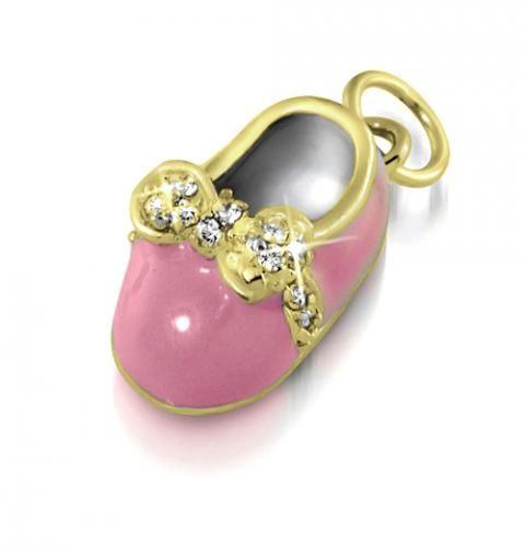 Gold Vermeil Pink Enamel CZ Bow Baby Shoe Charm Pendant Engravable