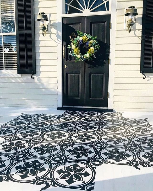 Diy Painted And Stenciled Cement Front Porch Makeover Ideas On A