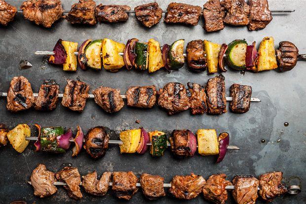 Beef and Vegetable Shish Kebabs...evoo, brown sugar, lemon zest, cumin, tomato paste..sirloin, cremini mushrooms, zucchini...