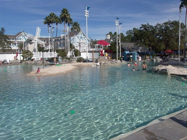 Across the lake from Boardwalk. Disney's Yacht Club Resort - their sand bottom pool is awesome!  Located in Lake Buena Vista.