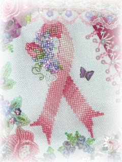 Free Pink Ribbon Counted Cross Stitch pattern.