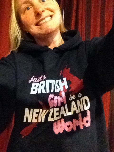 """British girl in a New Zealand world"" hoody"