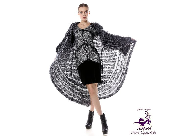 """The coat is crocheted by hand from oversized fluffy yarn, """"the silver Fox"""" + belt as a gift! by SEANNAfashion on Etsy"""
