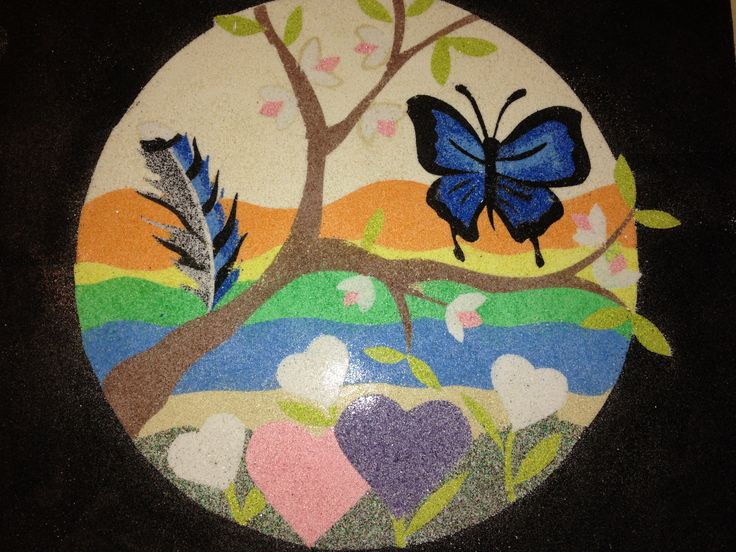 My first healing mandala.  The theme was hearts, expressed in my love of flowers and the love of two hearts coming together.  I also love magnolia trees, blue jays and butterflies!