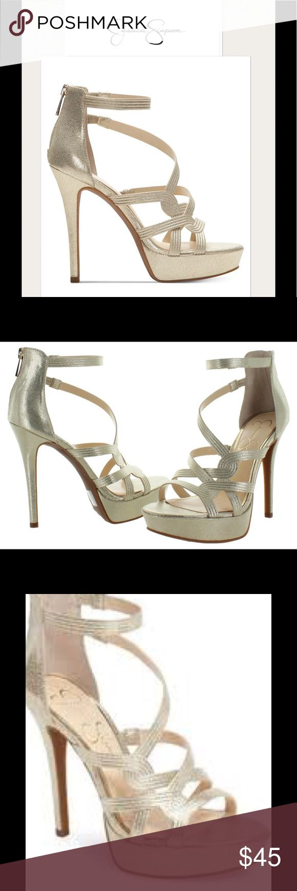 "NEW Jessica Simpson ""Bellanne"" sandal NEW Jessica Simpson ""Bellanne"" caged sandals.  Red-hot style for a smashing evening out. Jessica Simpson's Bellanne dress sandals are ultra-strappy with a skyscraper platform stiletto heel in a pale gold color.  Firm on price and no trades. Jessica Simpson Shoes Heels"