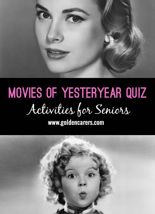 Here's a fun movie quiz featuring well known movies and movie stars from the past. A wonderful reminiscing quiz for seniors!