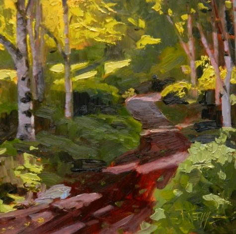 The Birch Forest plein air , oil , landscape painting by Robin Weiss -- Robin Weiss