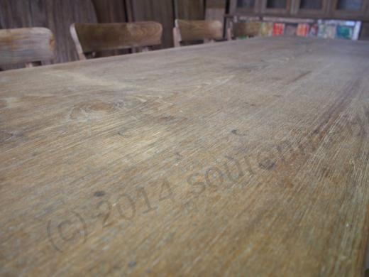 Antieke teak tafel + 8 stoelen
