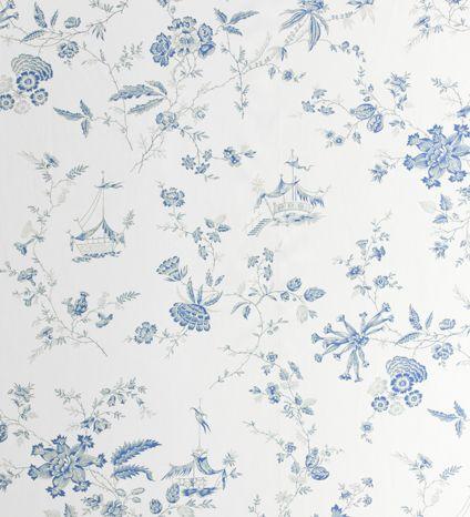 Curtain Fabrics Offers Tonkin Flowers Blue