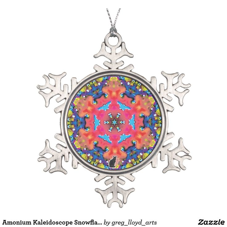 Amonium Kaleidoscope Snowflake Ornament. Over 3000 products at my Zazzle online store, all featuring my original illustrations and abstract imagery. Open 24/7 -- World wide! Custom one-of-a-kind items shipped to your door. This art is exclusive to greg_lloyd_arts. No one else has it.   http://www.zazzle.com/greg_lloyd_arts*?rf=238198296477835081