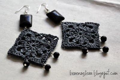 nero e carbone - orecchini uncinetto