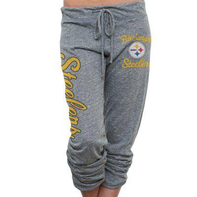 Pittsburgh Steelers Ladies Touchdown Tri-Blend Crop Pants - Ash $37 size s