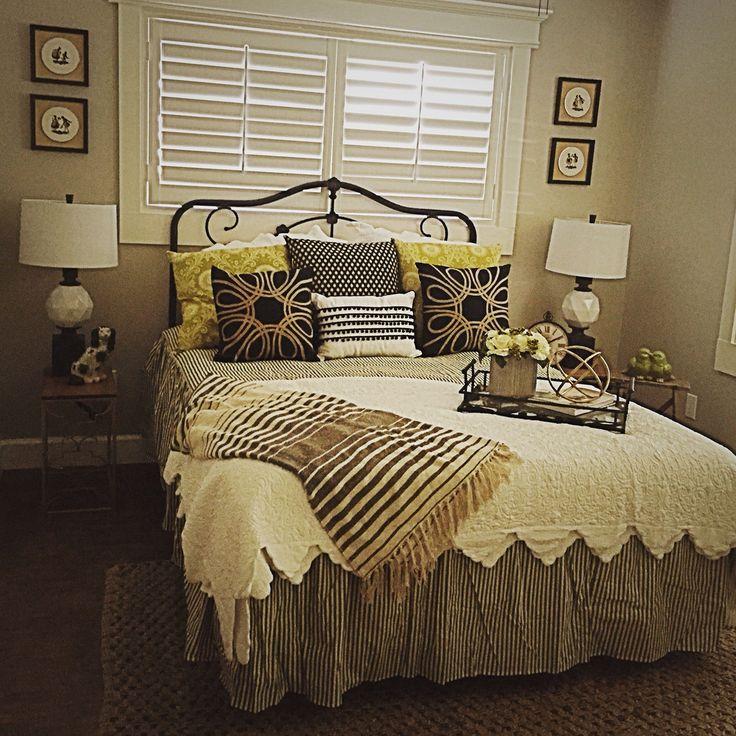 Guest Bedroom Ticking Stripe Bedding Black White Cream