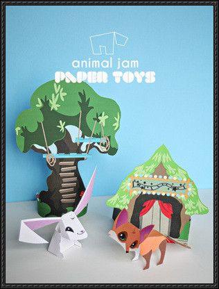 Animal Jam - Sarapiea Forest Free Paper Toy Download - http://www.papercraftsquare.com/animal-jam-sarapiea-forest-free-paper-toy-download.html