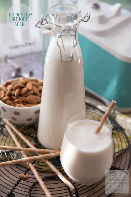 Homemade Almond Milk // Making your own almond milk couldn't be any more simple. All you need are four ingredients and 60 seconds. Best part about it? You avoid Carrageenan the additive found in most store bought almond milks. Enjoy this fresh, smooth, creamy & rich homemade version today!   Tried and Tasty