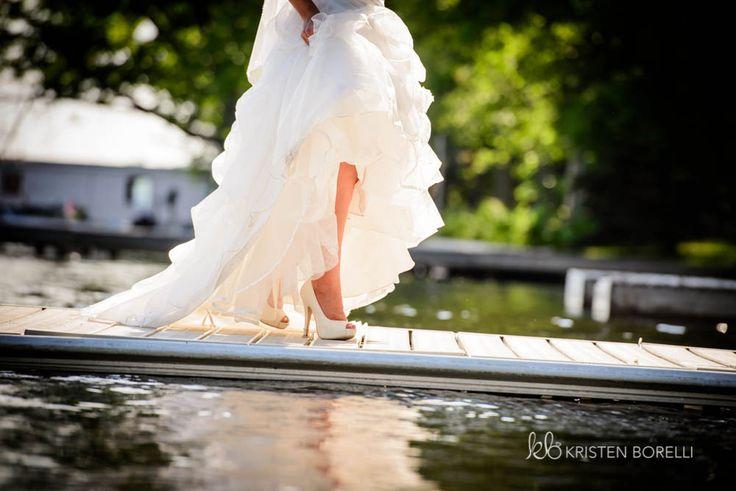 Bride Walking Down Doc  | Kristen Borelli Photography | Vancouver Island Weddings | Patterson Kaye Lodge Wedding Photography | Cottage Weddings
