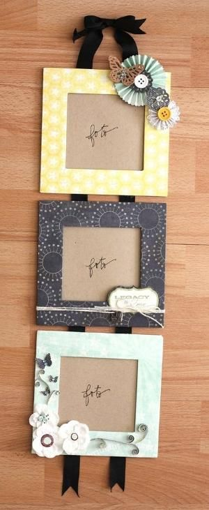Photo frames made of cardboard boxes. This is an inexpensive way of creating photo frames and you can choose the borders by using your own scrapbook paper! by mtellibus