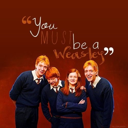 Harry Potter Weasley's Fred, George, Ron, and Ginny.
