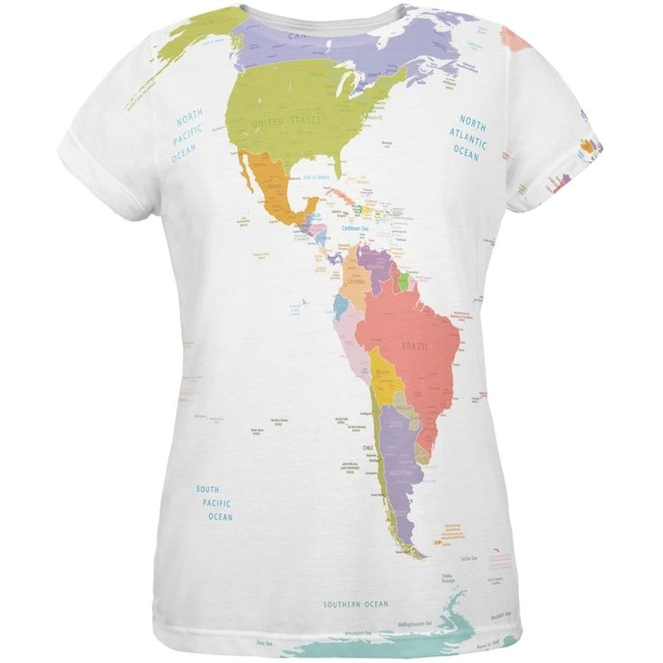 Are you an international, globe trotter?. Printed on a polyester women's t-shirt, this exclusive Old Glory design features an all-over global map on the front. The dye sublimation printing process creates slight imperfections that are unique to each garment.   eBay!