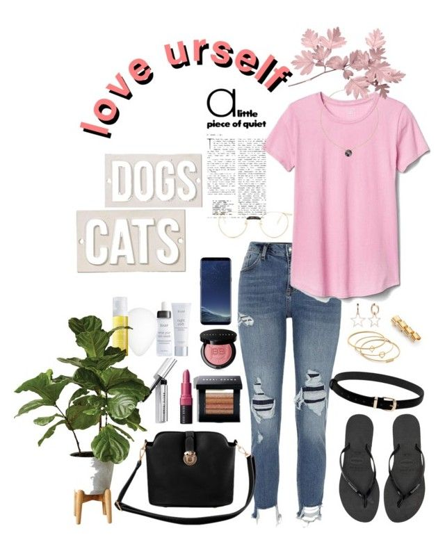 """""""fair of Cats and Dogs"""" by alicemarianaa on Polyvore featuring River Island, Gap, Havaianas, Maison Margiela, Madewell, Bobbi Brown Cosmetics, Julep, HomArt, Samsung and Gucci"""